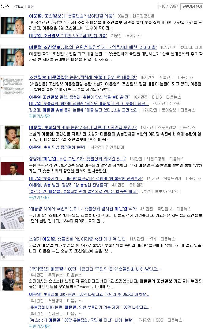 이문열 조선일보 칼럼 하나에 밑천 드러낸 논란들